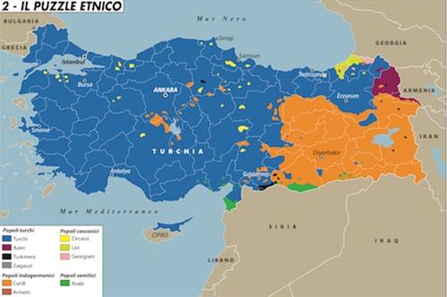 in arancione la zona curda della Turchia